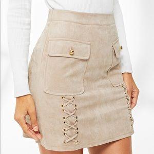 Dresses & Skirts - Tan Crisscross Faux Suede Mini Skirt